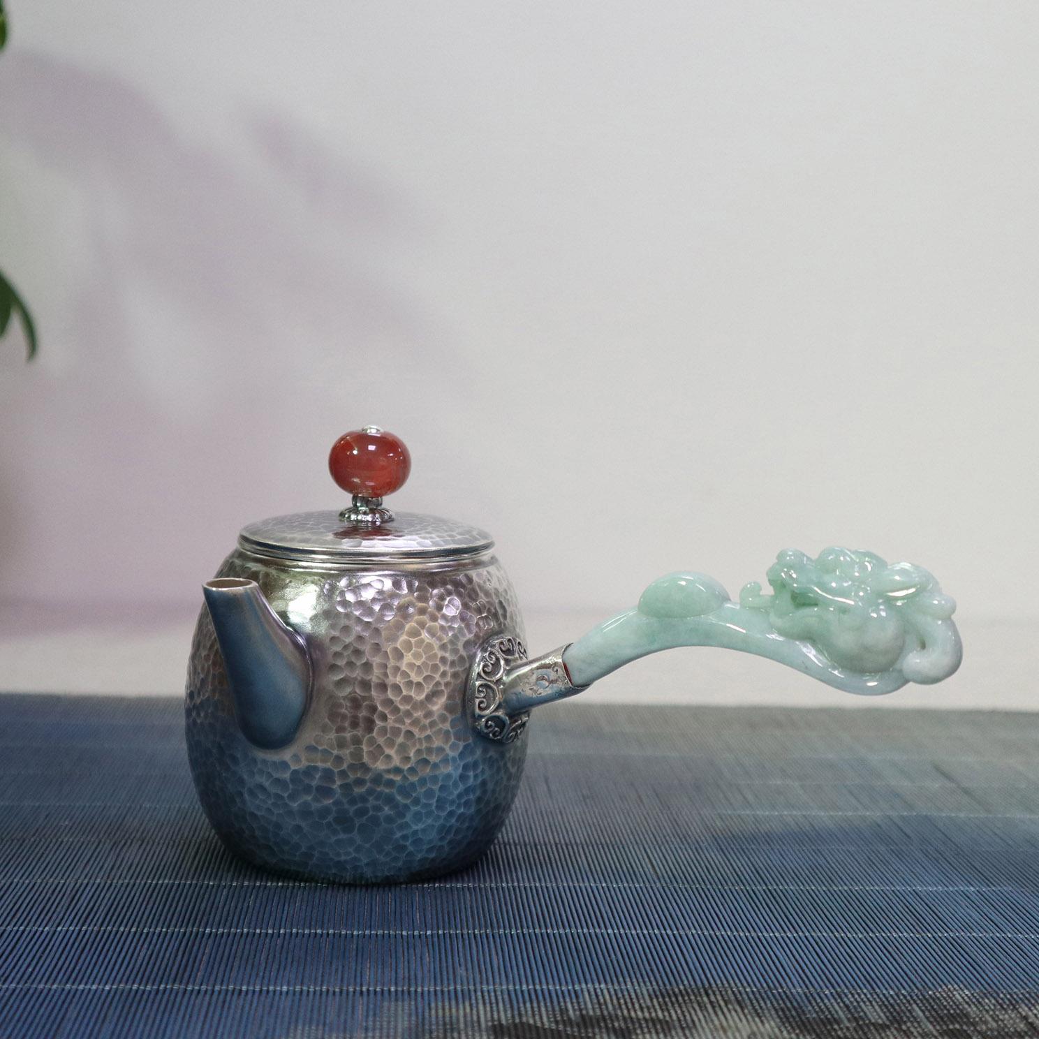 【龙王戏珠】S999纯银手工 茶壶