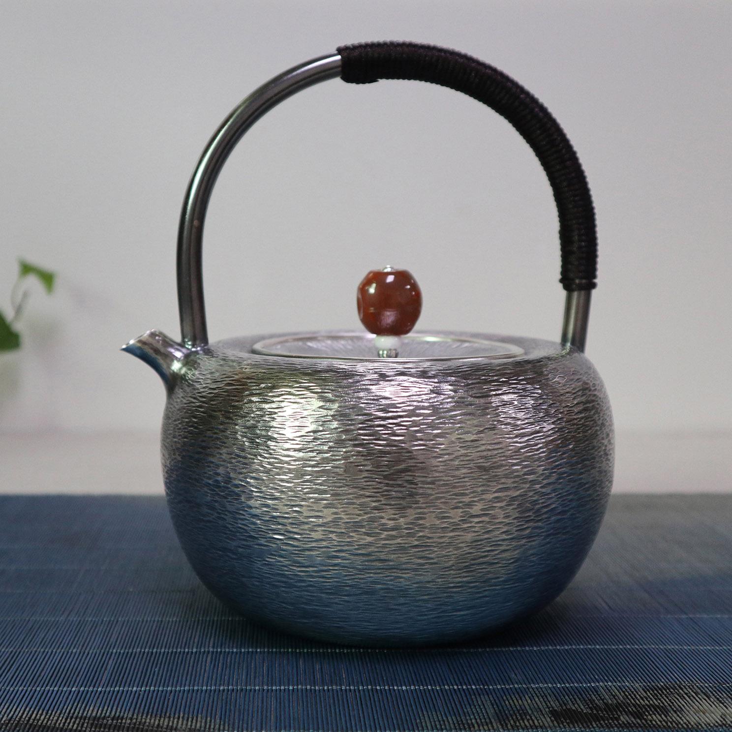 【潮起潮落】S999纯银手工 烧水壶