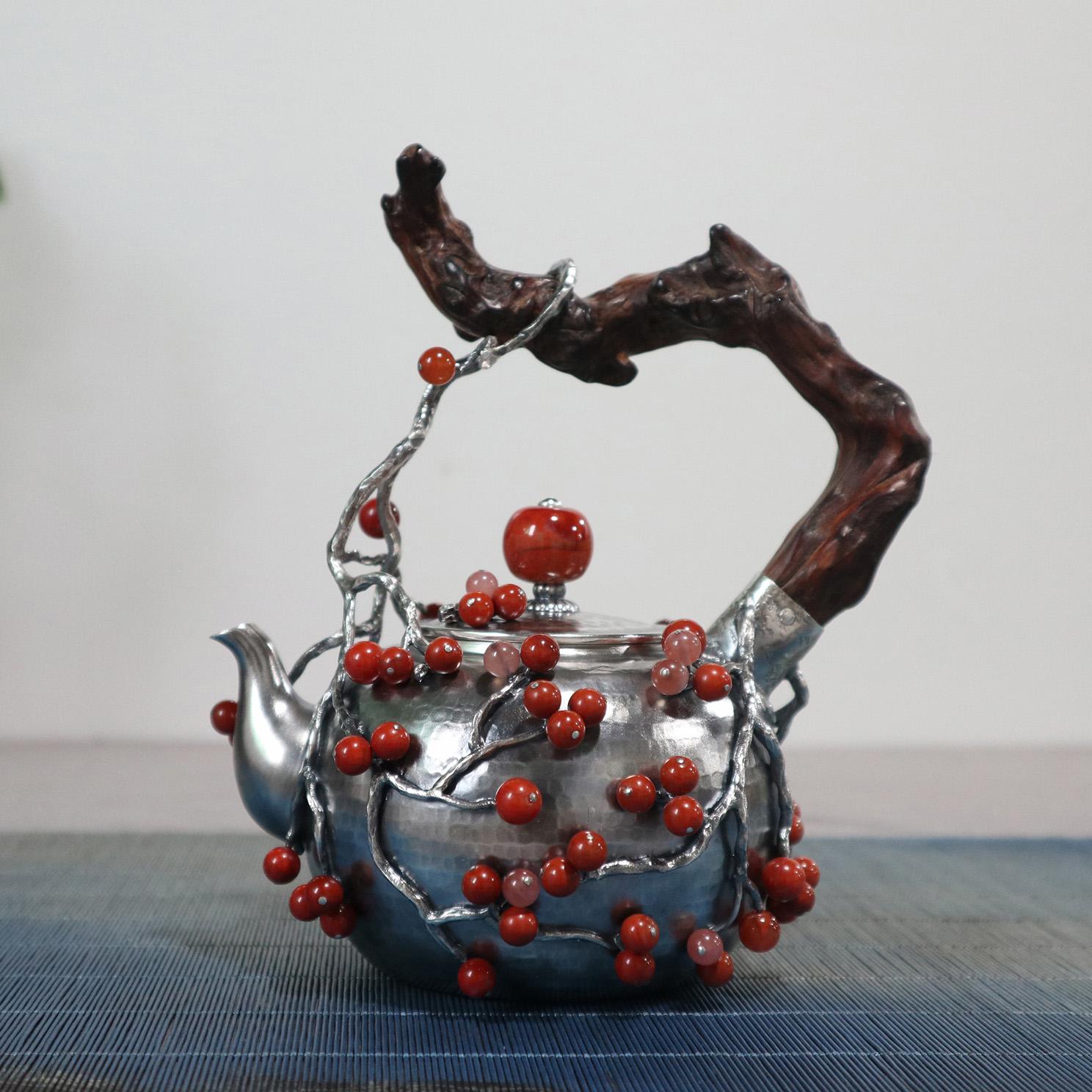 【多子多福】S999纯银手工 茶壶