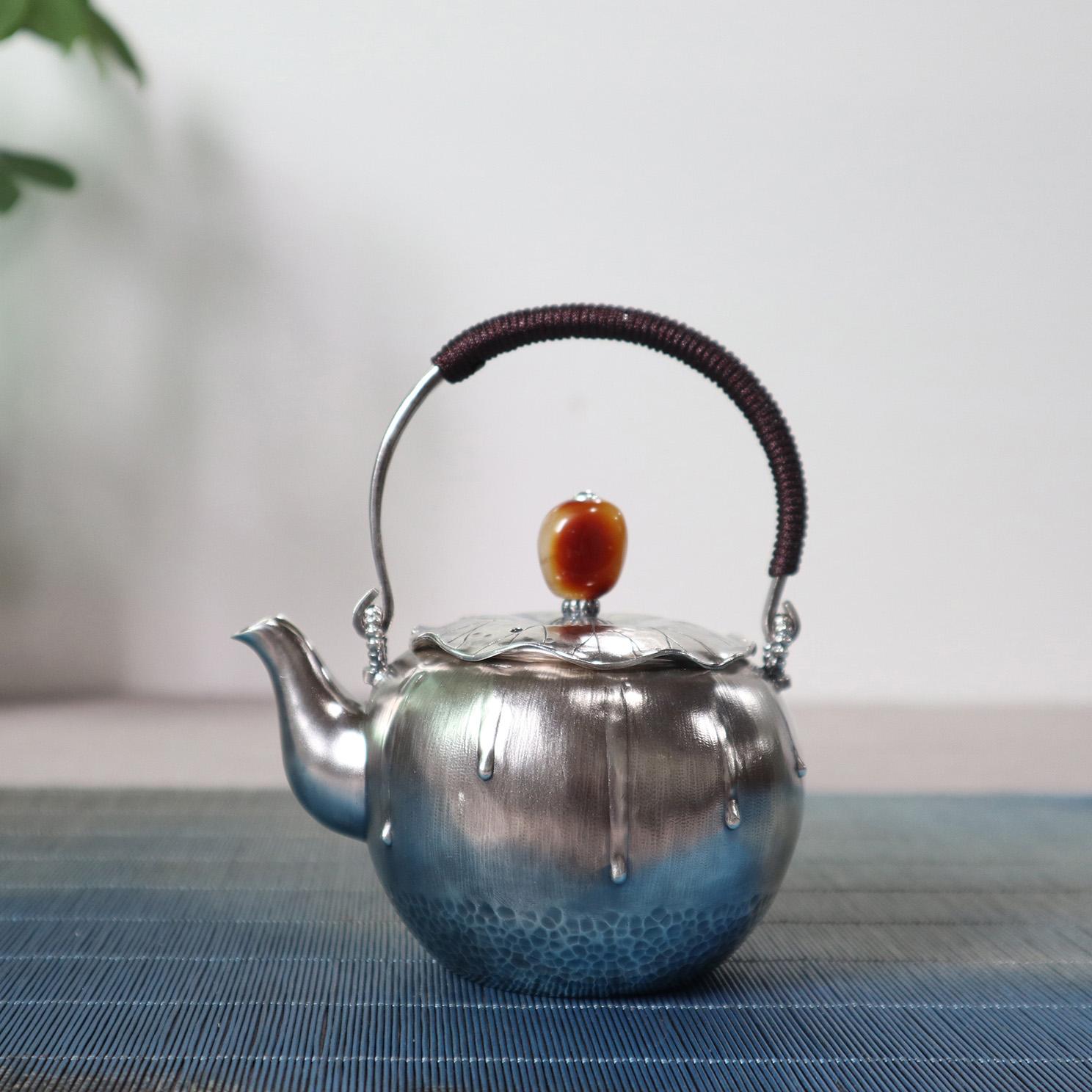 【溢满】S999纯银手工 茶壶