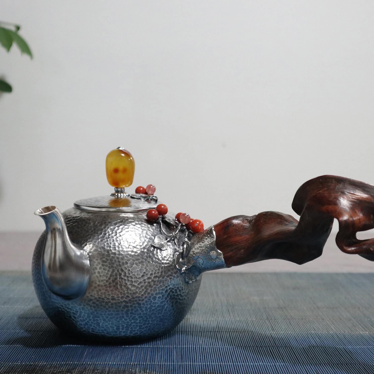 【满圆】S999纯银手工 烧水壶