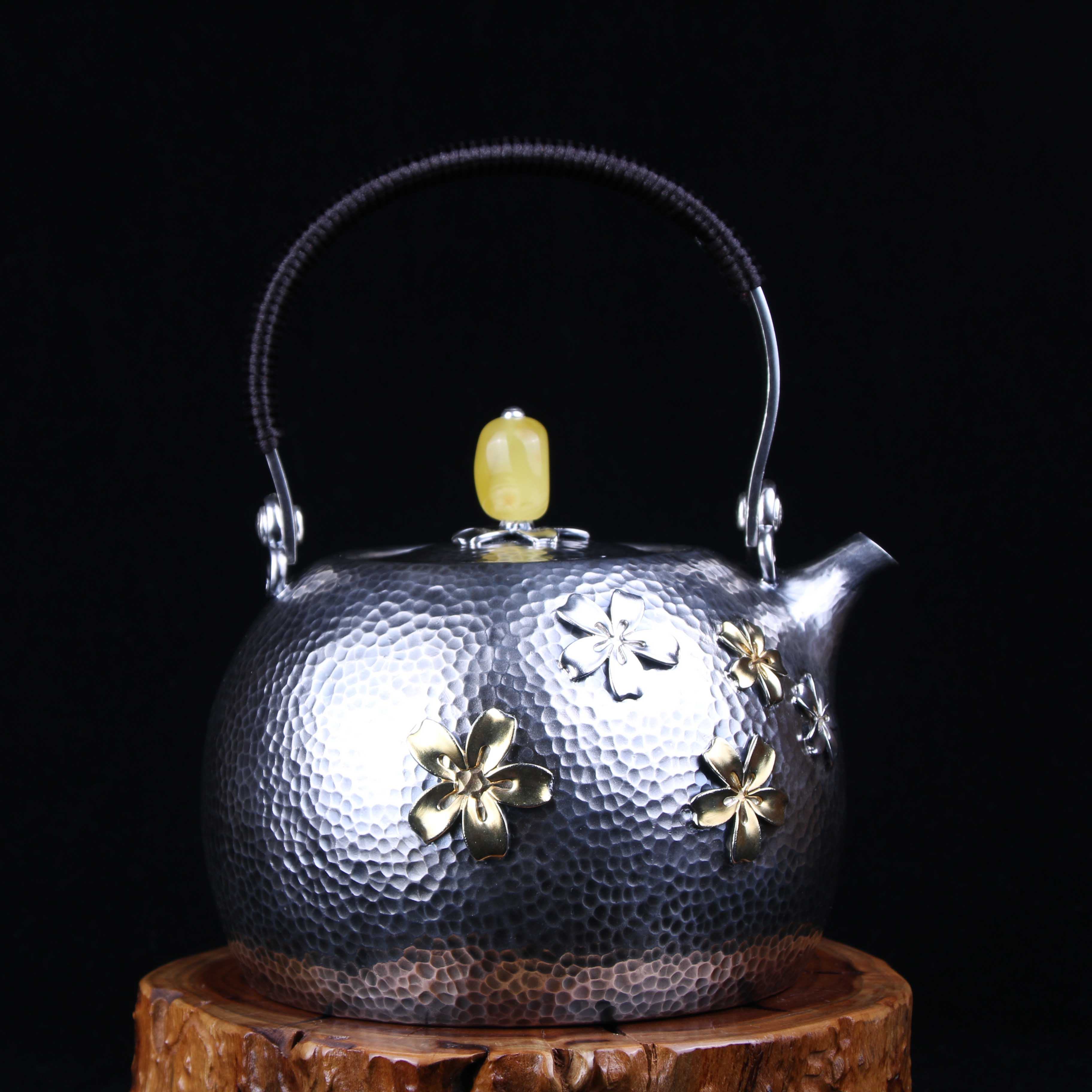 【樱花壶】S999纯银手工 烧水壶