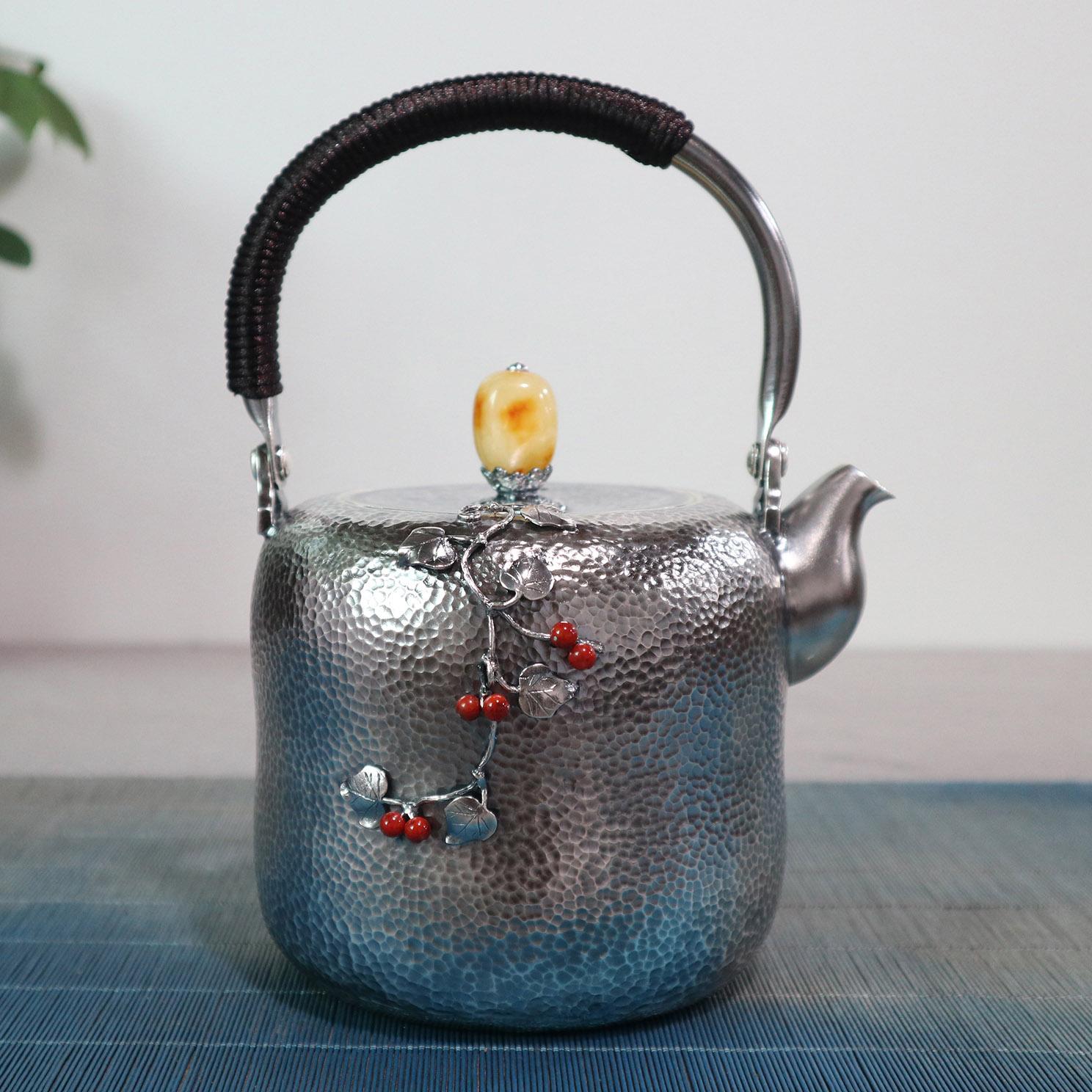 【静待】S999纯银手工 烧水壶