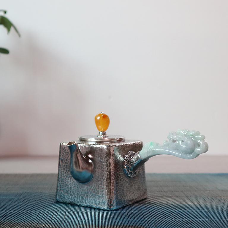 【四菱壶】S999纯银手工 茶壶