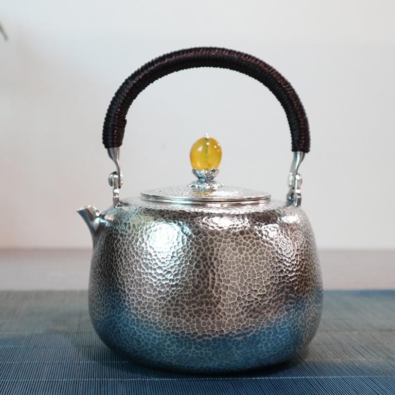 【月】S999纯银手工 烧水壶