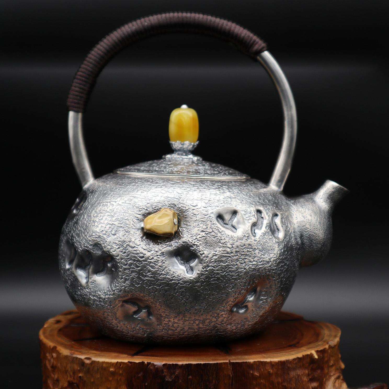 【岁月】S999纯银手工 烧水壶