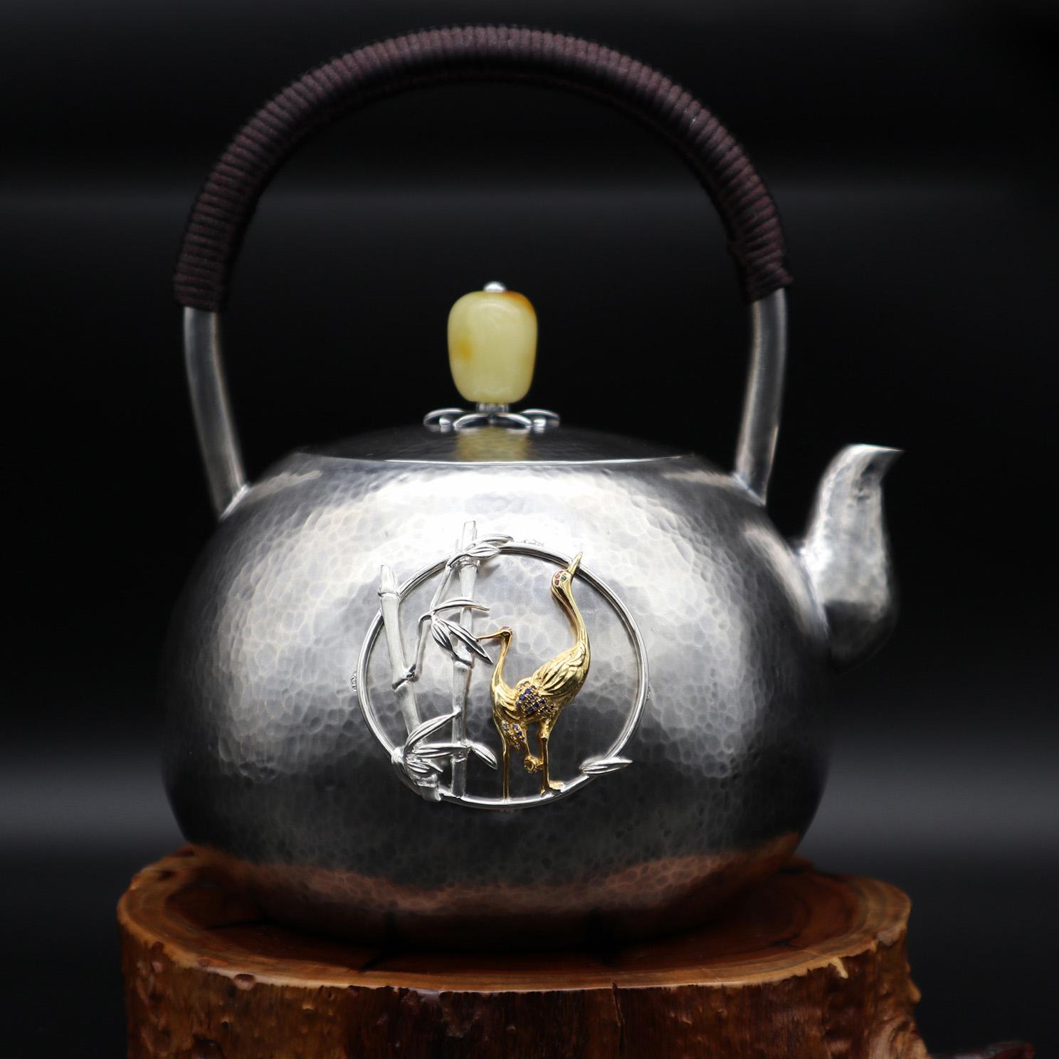 【鹤报平安】S999纯银手工 烧水壶