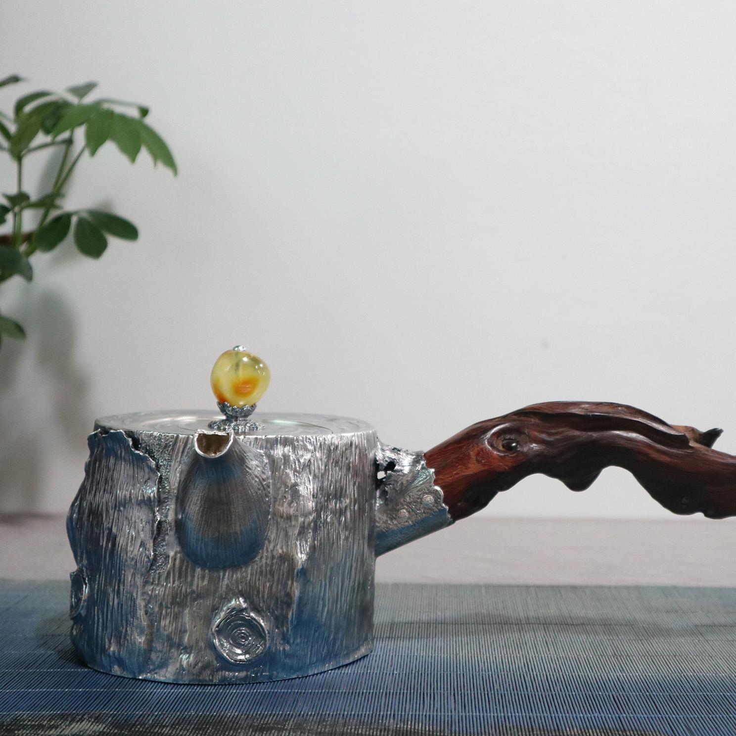 【光阴】S999纯银手工 烧水壶