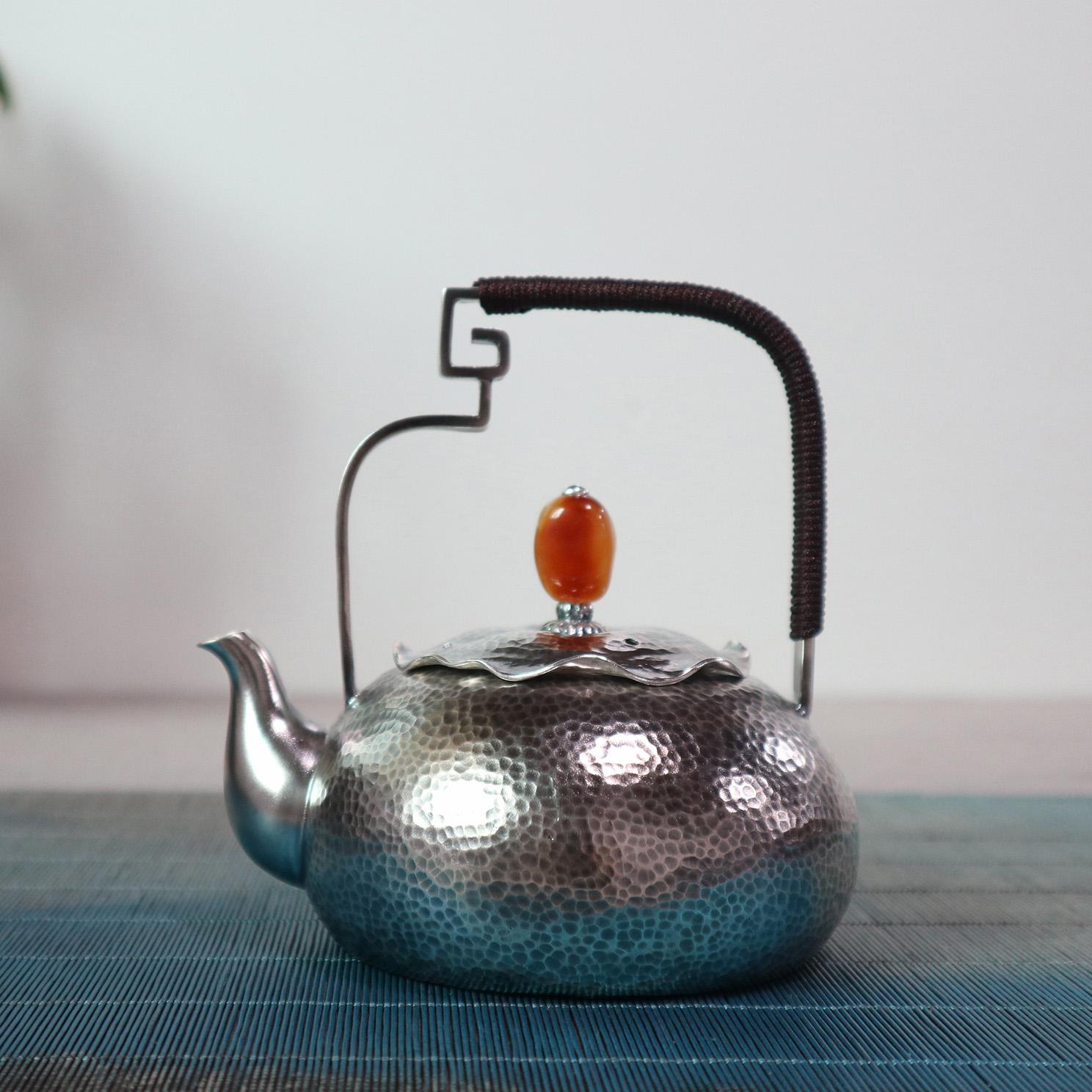 【夏莲】S999纯银手工 茶壶