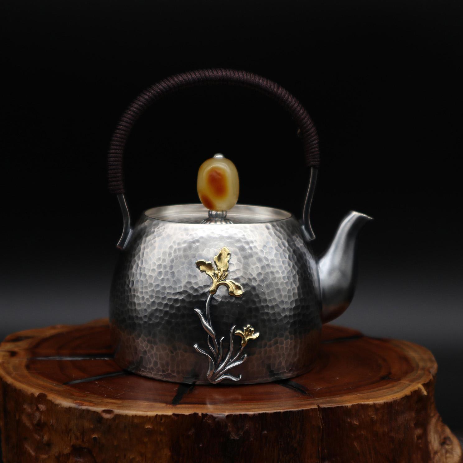 【兰花】S999纯银手工 茶壶